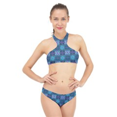 Mod Purple Green Turquoise Square Pattern High Neck Bikini Set