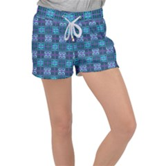 Mod Purple Green Turquoise Square Pattern Women s Velour Lounge Shorts