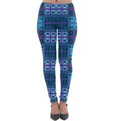 Mod Purple Green Turquoise Square Pattern Lightweight Velour Leggings