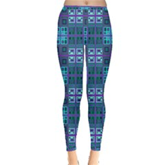 Mod Purple Green Turquoise Square Pattern Inside Out Leggings