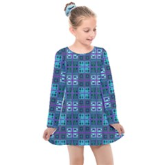 Mod Purple Green Turquoise Square Pattern Kids  Long Sleeve Dress