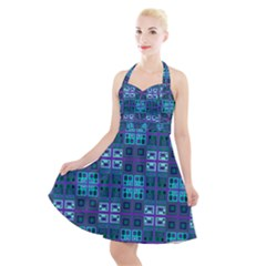 Mod Purple Green Turquoise Square Pattern Halter Party Swing Dress