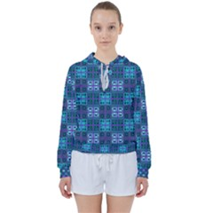 Mod Purple Green Turquoise Square Pattern Women s Tie Up Sweat