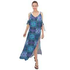 Mod Purple Green Turquoise Square Pattern Maxi Chiffon Cover Up Dress