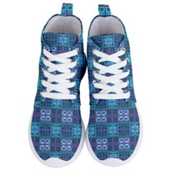 Mod Purple Green Turquoise Square Pattern Women s Lightweight High Top Sneakers