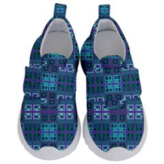 Mod Purple Green Turquoise Square Pattern Velcro Strap Shoes
