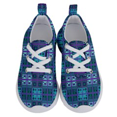 Mod Purple Green Turquoise Square Pattern Running Shoes