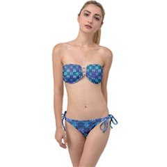 Mod Purple Green Turquoise Square Pattern Twist Bandeau Bikini Set
