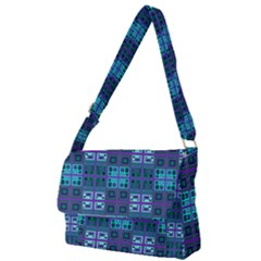 Mod Purple Green Turquoise Square Pattern Full Print Messenger Bag