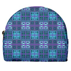 Mod Purple Green Turquoise Square Pattern Horseshoe Style Canvas Pouch