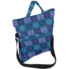 Mod Purple Green Turquoise Square Pattern Fold Over Handle Tote Bag