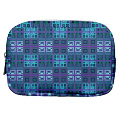Mod Purple Green Turquoise Square Pattern Make Up Pouch (small)