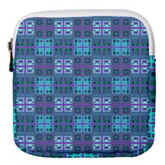 Mod Purple Green Turquoise Square Pattern Mini Square Pouch