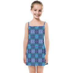 Mod Purple Green Turquoise Square Pattern Kids Summer Sun Dress