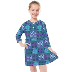 Mod Purple Green Turquoise Square Pattern Kids  Quarter Sleeve Shirt Dress