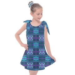 Mod Purple Green Turquoise Square Pattern Kids  Tie Up Tunic Dress