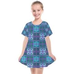 Mod Purple Green Turquoise Square Pattern Kids  Smock Dress