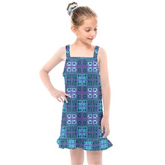 Mod Purple Green Turquoise Square Pattern Kids  Overall Dress