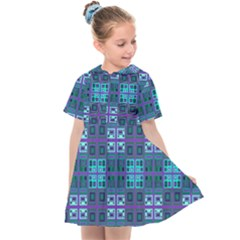 Mod Purple Green Turquoise Square Pattern Kids  Sailor Dress