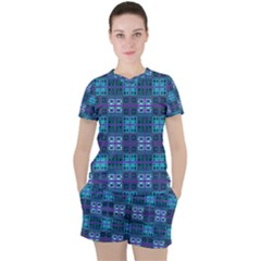 Mod Purple Green Turquoise Square Pattern Women s Tee And Shorts Set by BrightVibesDesign