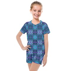 Mod Purple Green Turquoise Square Pattern Kids  Mesh Tee And Shorts Set
