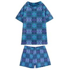 Mod Purple Green Turquoise Square Pattern Kids  Swim Tee And Shorts Set