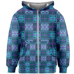 Mod Purple Green Turquoise Square Pattern Kids Zipper Hoodie Without Drawstring