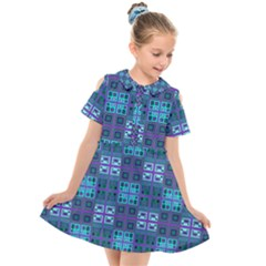 Mod Purple Green Turquoise Square Pattern Kids  Short Sleeve Shirt Dress