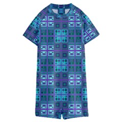 Mod Purple Green Turquoise Square Pattern Kids  Boyleg Half Suit Swimwear