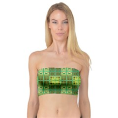Mod Yellow Green Squares Pattern Bandeau Top