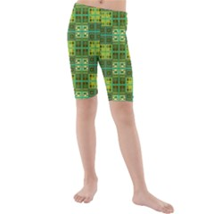 Mod Yellow Green Squares Pattern Kids  Mid Length Swim Shorts