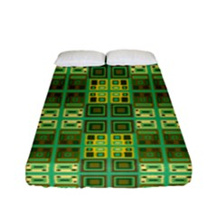 Mod Yellow Green Squares Pattern Fitted Sheet (full/ Double Size)