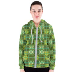 Mod Yellow Green Squares Pattern Women s Zipper Hoodie