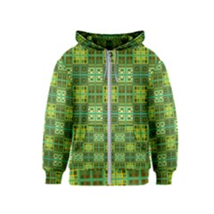 Mod Yellow Green Squares Pattern Kids  Zipper Hoodie