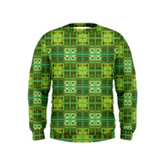 Mod Yellow Green Squares Pattern Kids  Sweatshirt