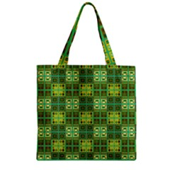 Mod Yellow Green Squares Pattern Zipper Grocery Tote Bag