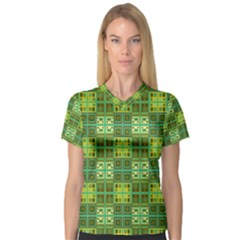 Mod Yellow Green Squares Pattern V Neck Sport Mesh Tee