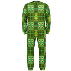Mod Yellow Green Squares Pattern Onepiece Jumpsuit (men)
