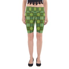 Mod Yellow Green Squares Pattern Yoga Cropped Leggings