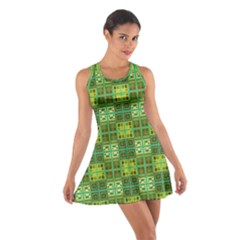 Mod Yellow Green Squares Pattern Cotton Racerback Dress