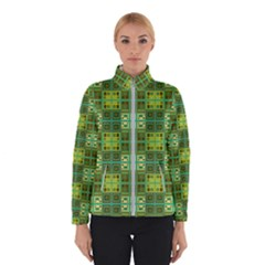 Mod Yellow Green Squares Pattern Winter Jacket