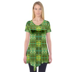 Mod Yellow Green Squares Pattern Short Sleeve Tunic
