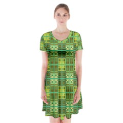 Mod Yellow Green Squares Pattern Short Sleeve V Neck Flare Dress