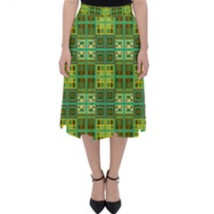 Mod Yellow Green Squares Pattern Classic Midi Skirt