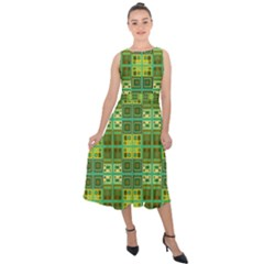 Mod Yellow Green Squares Pattern Midi Tie Back Chiffon Dress