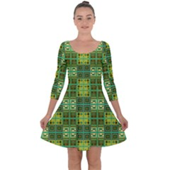 Mod Yellow Green Squares Pattern Quarter Sleeve Skater Dress
