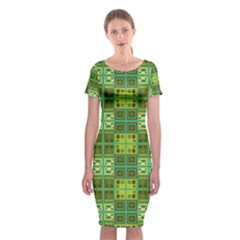 Mod Yellow Green Squares Pattern Classic Short Sleeve Midi Dress