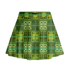 Mod Yellow Green Squares Pattern Mini Flare Skirt