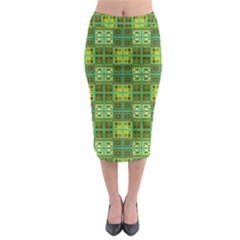 Mod Yellow Green Squares Pattern Midi Pencil Skirt