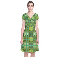Mod Yellow Green Squares Pattern Short Sleeve Front Wrap Dress